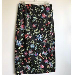 Talbots Petite Wrap Floral A Line Midi Skirt